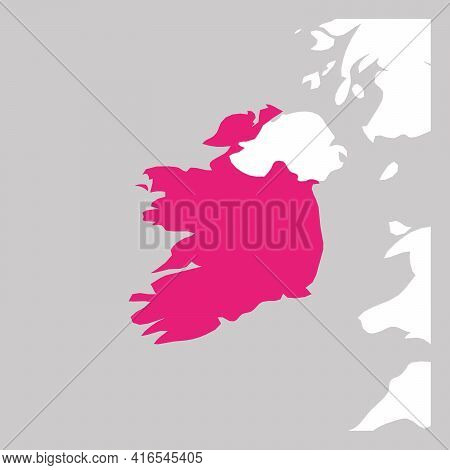 Map Of Ireland Pink Highlighted With Neighbor Countries.