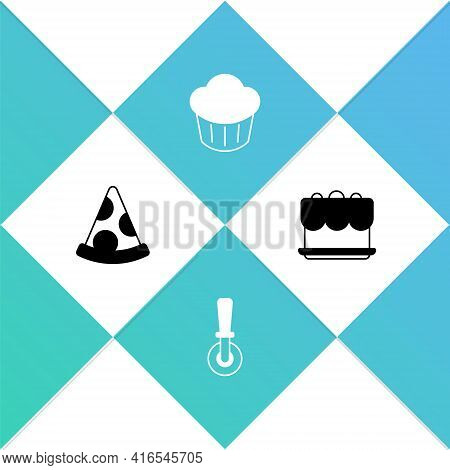 Set Slice Of Pizza, Pizza Knife, Cupcake And Cake Icon. Vector