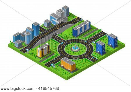 City Business And Residential Districts Isometric Map Poster With Circular Roundabout Intersection W