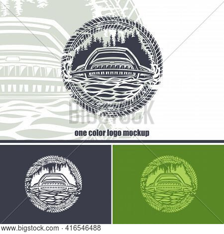 Round Logo With An Suv On A Forest Background And Wheel Prints. Monochrome Layout.
