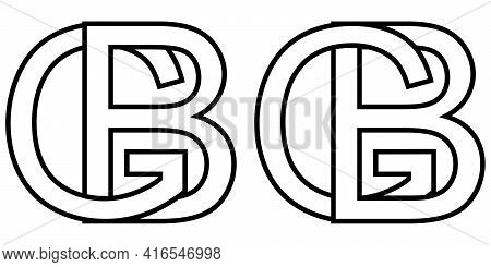 Logo Sign Gb Bg Icon Sign Interlaced Letters B, G Vector Logo Gb, Bg First Capital Letters Pattern A