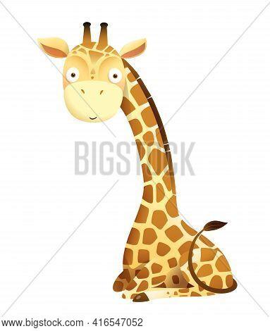 Baby Giraffe Cute Animal Sitting Vector Design For Stickers, Baby Shower Or Nursery Art. Adorable Gi