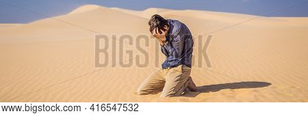 Exhausted Man In The Desert. Apathy, Fatigue, Exhaustion, Mental Disorders Concept. Mental Health Ba