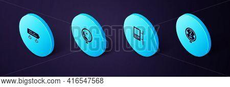Set Isometric Road Traffic Sign, , Warning Rockfall And Icon. Vector
