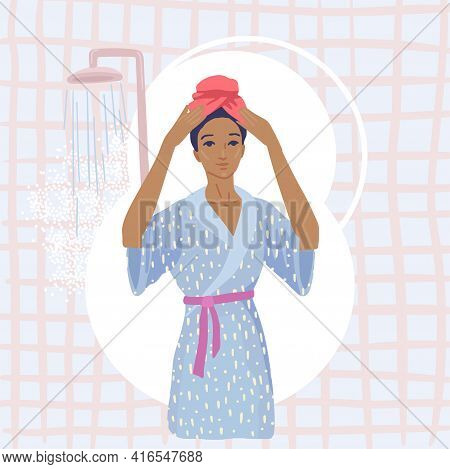 Woman Puts A Towel On Head, Dry Her Hair After A Shower, Get Out Of The Shower In A Bathrobe. Vector