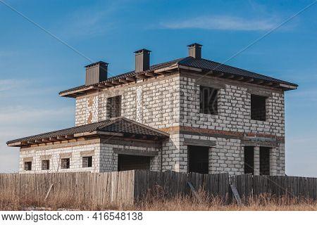 Abandoned Unfinished Empty House No Windows, Abandoned Construction Concept