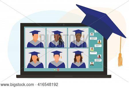Virtual Graduation Ceremony. Graduates In Graduating Clothing Communicate Via Video Call. Laptop Scr