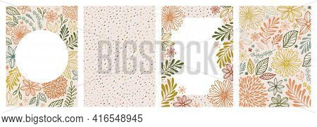 Set Of Universal Hand Drawn Floral Template For Cover. Home Decor, Backgrounds, Cards. Children Abst
