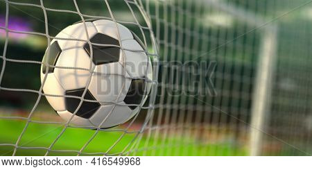 Goal. Soccer football ball scores a goal on the net. 3d illustration