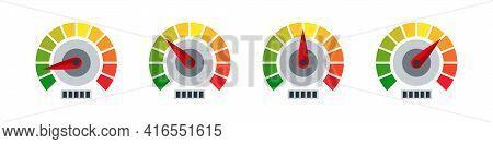 Gauge Icons. Risk Level Gauge. Level Indicator. Performance Measurement. Vector Graphic