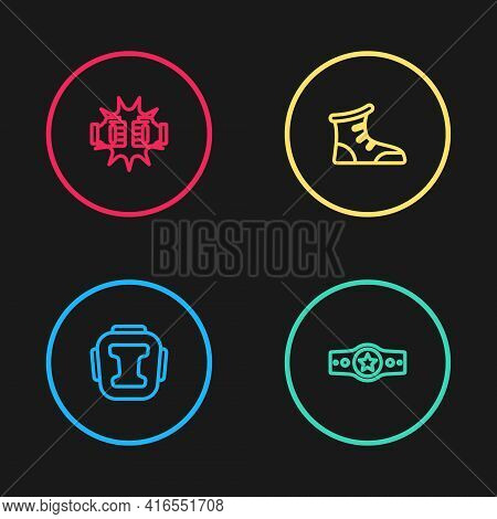 Set Line Boxing Helmet, Belt, Sport Boxing Shoes And Punch Gloves Icon. Vector