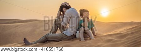 Banner, Long Format Relationship Problems Between Father And Son. Family Conflict. Dad And Son Have