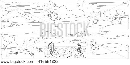 Landscape Of Desert Vector Outline Set Icon. Isolated Outline Set Icon Sahara.vector Illustration La