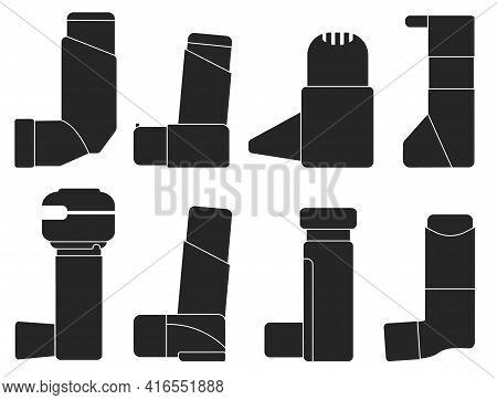 Inhaler Isolated Black Set Icon.vector Illustration Illustration Apparatus On White Background .blac