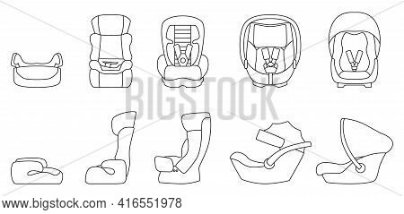 Baby Car Seat Vector Outline Set Icon. Vector Illustration Safety Chair On White Background. Isolate
