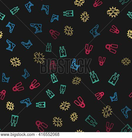 Set Line Sport Boxing Shoes, Wrestling Singlet, Punch Gloves And Expander On Seamless Pattern. Vecto