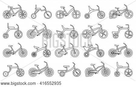 Child Bicycle Isolated Outline Set Icon. Vector Illustration Children Bike On White Background. Vect