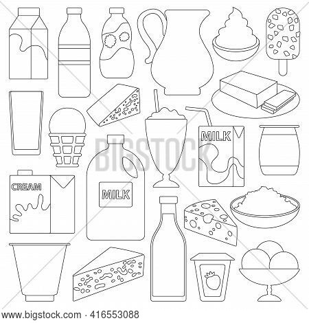 Milk Product Vector Outline Set Icon. Vector Illustration Food On White Background. Isolated Outline
