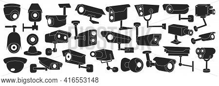 Video Camera Vector Black Set Icon. Vector Illustration Control Of Surveillance On White Background