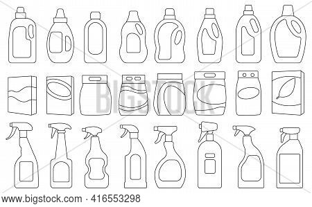 Detergent Vector Illustration On White Background. Isolated Outline Set Icon Soap Powder. Vector Out
