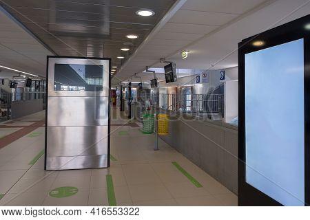 Inside Train Station: Empty Aisle Of City Of Parma Public Train Station, Italy.