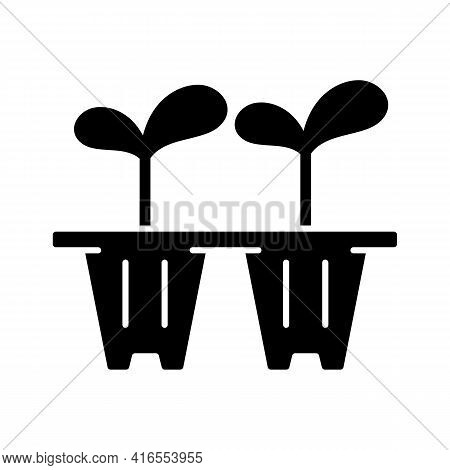Seedling Trays Black Glyph Icon. Temporary Containers That Hold Plants From Seed To Seedling Stage.