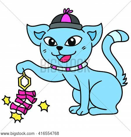 Cats Celebrate Chinese New Year By Lighting Firecrackers, Doodle Draw Kawaii. Vector Illustration Ar