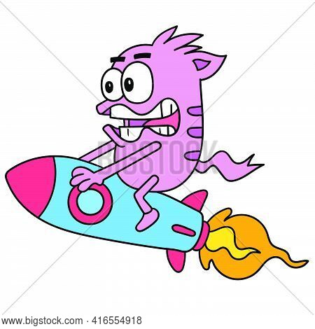 Monsters On Rockets Glide Through Space Quickly, Doodle Draw Kawaii. Vector Illustration Art