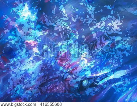 Abstract Blue Painting, Background For Wallpapers, Posters, Cards, Invitations, Websites. Modern Pai