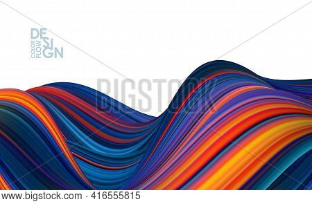 Modern Abstract Banner Background With 3d Twisted Color Flow Liquid Shape.