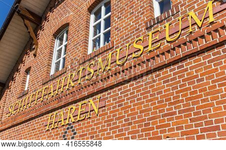 Haren, Germany - May 09, 2020: Facade With The Name Of The Maritime Museum In Haren, Germany