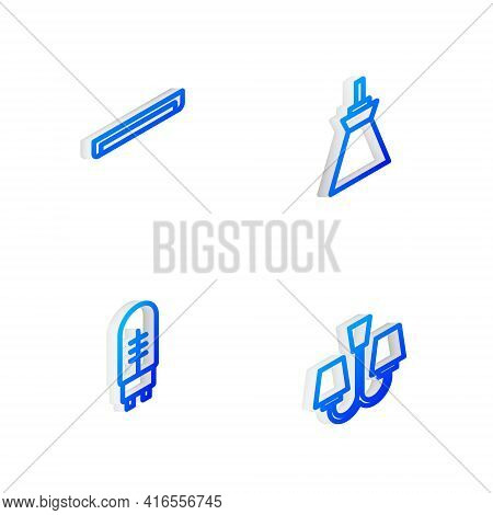 Set Isometric Line Lamp Hanging, Fluorescent Lamp, Light Emitting Diode And Chandelier Icon. Vector