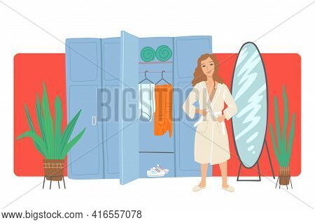 Woman Changes Into A Bathrobe Near Lockers In The Dressing Room. Spa, Beauty Salon, Massage Preparat