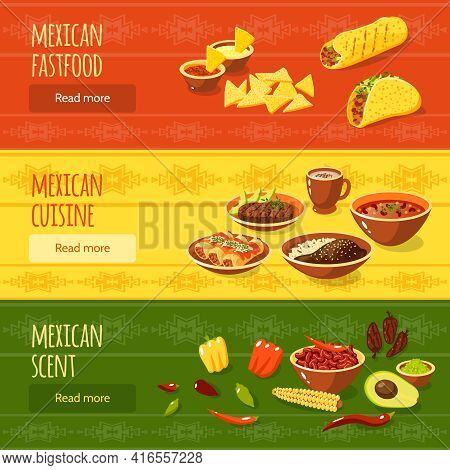 Mexican Food Horizontal Banner Set With Fastfood Scent Cuisine Elements Isolated Vector Illustration