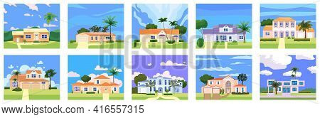 Set Residential Home Buildings In Landscape Tropic Trees, Palms. House Exterior Facades Front View A