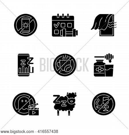 Insomnia Reasons Black Glyph Icons Set On White Space. No Device Before Bedtime. Sleep Hygiene. Regu