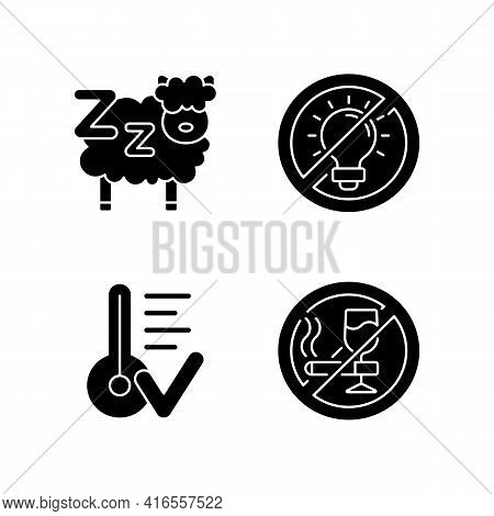 Sleep Hygiene Black Glyph Icons Set On White Space. Counting Sheeps Before Bedtime. Comfortable Temp