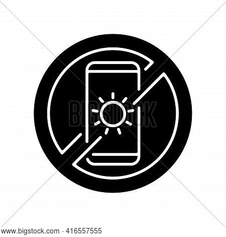 No Devices Black Glyph Icon. Digital Detox. Avoid Bright Mobile Screen Before Bedtime. Limit Smartph