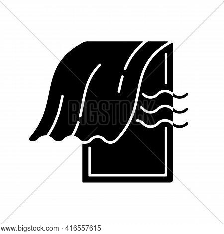 Airing Bedroom Black Glyph Icon. Office Space Ventilation. Open Window, Oxygen In Home. Fresh Air, P