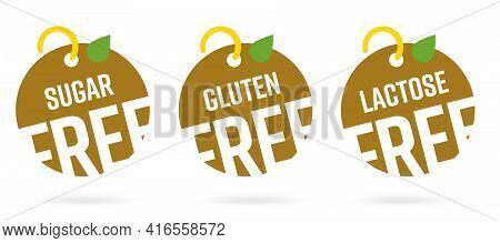 Sugar, Gluten, Lactose Free Round Non Allergy Product Tag. Set Of Different Circle Shape Label For D