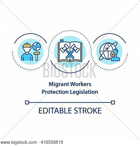 Migrant Workers Protection Legislation Concept Icon. Legal Support. Immigrant Employee Rights Idea T
