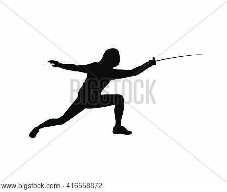 Fencing Man Silhouette Vector Icon Black On White