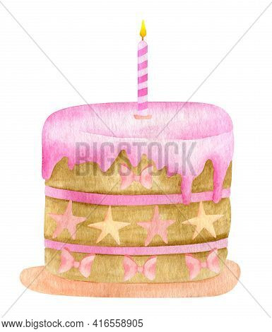 Watercolor Birthday Cake With One Candle. Hand Drawn Biscuit Cake With Pink Glaze, Stars And Bows De