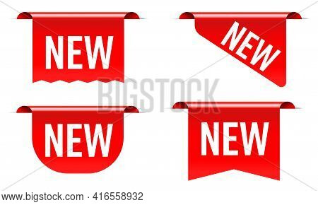 New Sale Tag, Product Badge, Label, Sticker, Corner Red Sign. Realistic Three-dimensional Ribbon For
