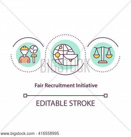 Fair Recruitment Initiative Concept Icon. Legal Protection Of Immigrants. Migrant Workers Rights Ide