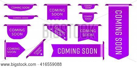 Sale Tag Ribbon Coming Soon Promotion Announcement Set. Purple Realistic Three-dimensional Badge Tap