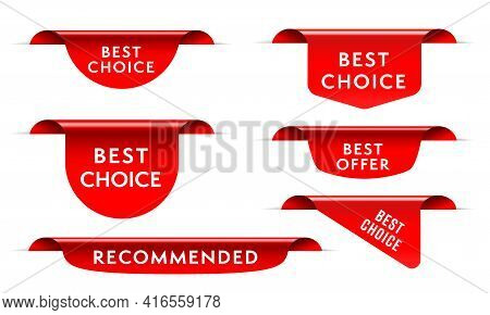 Best Choice Red Tag Ribbon, Bookmark Label, Corner Sticker. Set Of Red Realistic Three-dimensional Q