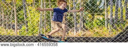 Banner, Long Format Happy Boy On A Soft Board For A Trampoline Jumping On An Outdoor Trampoline, Aga