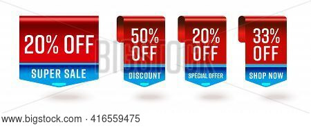 20, 50, 33 Percent Off Super Sale Discount Special Offer Tag. Bookmark Ribbon Pointer Badge Advertis
