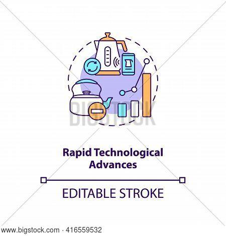 Rapid Technological Advances Concept Icon. E-waste Management Challenge Idea Thin Line Illustration.